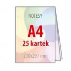 Notesy A4 - 25 kartek - 100 sztuk