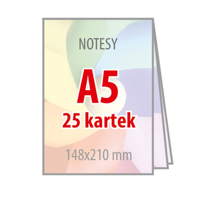 Notesy A5 - 25 kartek - 100 sztuk